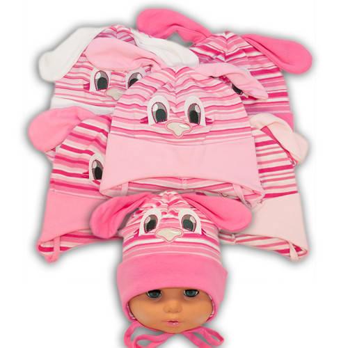 Детские шапки из трикотажа с ушками на завязках, 441