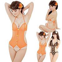 Сексуальный женский оранжевый боди