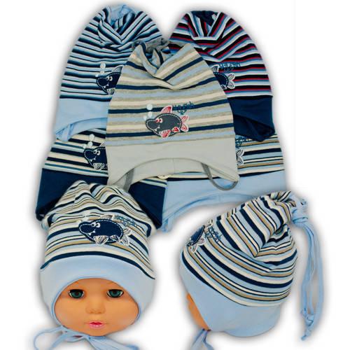 Детские шапки из трикотажа на завязках, 446