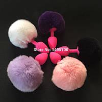 Секс игрушка  анальная пробка силиконовая с хвостиком 7*2.8 см