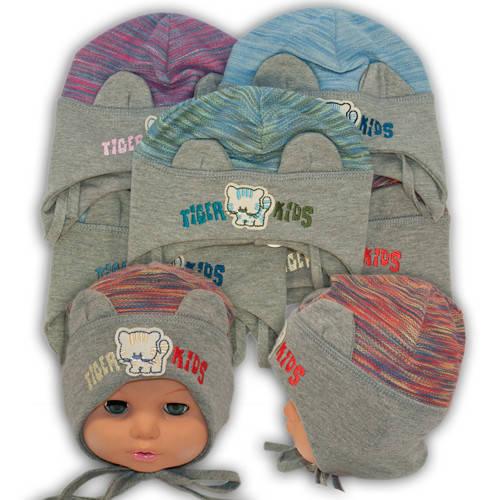 Детские шапки из трикотажа на завязках, 516
