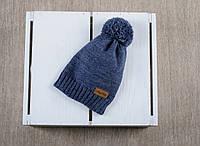 Вязаная шапочка с помпоном Шапка, Помпон, MagBaby, 50% шерсть, 50% акрил, Украина, Вязка, 50-54см, синий