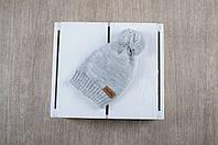 Вязаная шапочка с помпоном Шапка, Помпон, MagBaby, 50% шерсть, 50% акрил, Украина, Вязка, 50-54см, серый