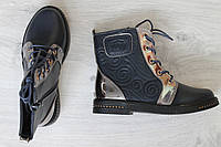 Синие ботинки для девочки, демисезонная детская обувь тм JG р.35