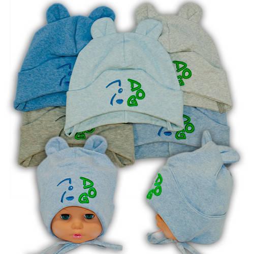 Детские шапки из трикотажа на завязках, 749