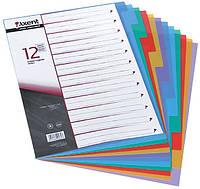 Разделитель страниц цветной 12 страниц (2х6 цветов) пластик. AXENT