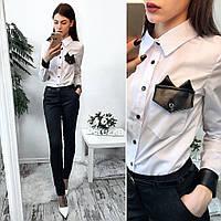 Костюм женский рубашка со вставками из эко кожи и брюки коттон Мемори Ds309