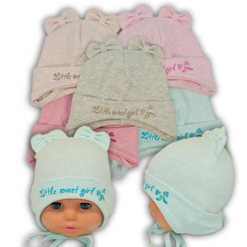 Детские шапки из трикотажа на завязках, 754
