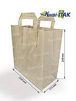 Пакет с плоскими ручками 260х250х115 (Бурый крафт)