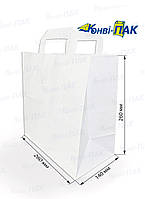 Пакет с плоскими ручками 260х260х140 (Белый крафт)