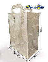 Пакет с плоскими ручками 380х320х150 (Бурый крафт)