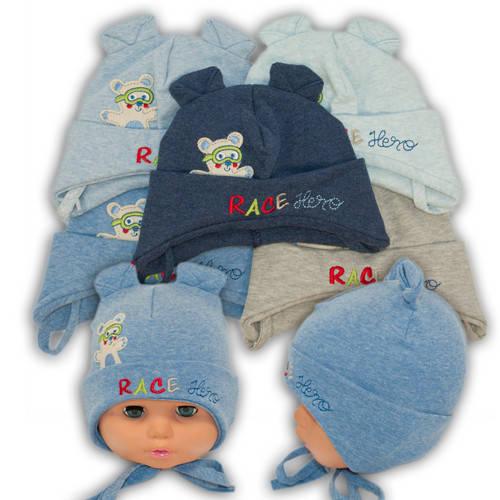 Детские шапки из трикотажа на завязках, 755