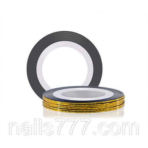 Лента для дизайна ногтей, золото голографическое