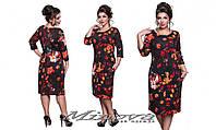 Платье женское трикотажное цветочный принт   размеры 50-56