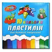 Пластилин детский П-10 Колорит, 10 цветов