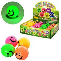 Мяч детский MS 0914 (144шт) 6,5см, пищалка, свет, резина, 4 цвета, 12шт в дисплее, 30-23,5-7,5см