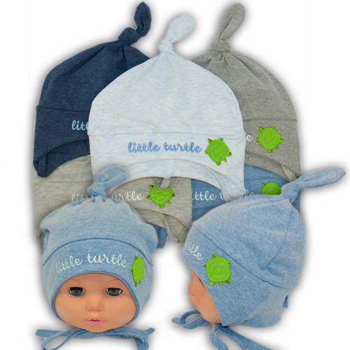 Детские шапки из трикотажа на завязках, 761
