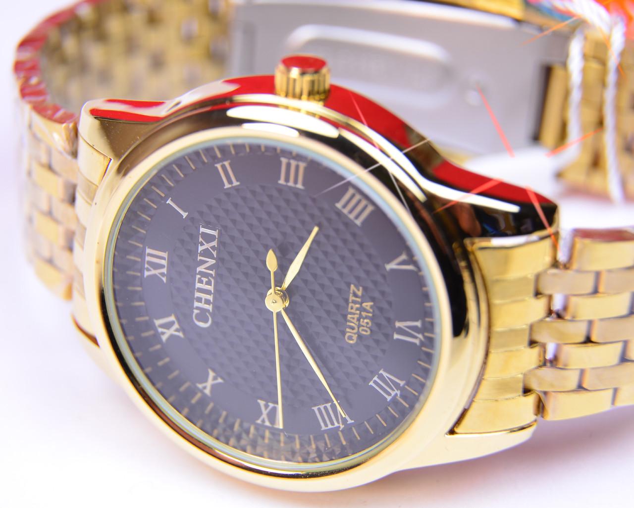 Мужские часы CHENXI Gold черный циферблат
