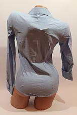 Женские однотонные рубашки EL5645 голубой, фото 3