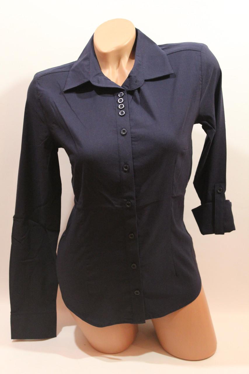 Женские однотонные рубашки EL5645 т.синий