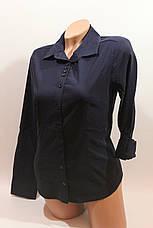 Женские однотонные рубашки EL5645 т.синий, фото 2