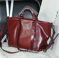 Модные кожаные женские объемные сумки