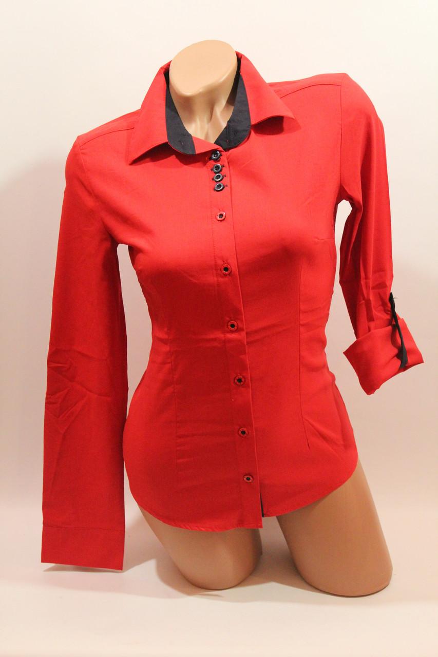 Женские однотонные рубашки EL5645 красный