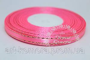 Атласная лента с люрексом, 0,6 см, ярко-розовая