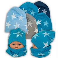 Трикотажные шапки детские с хомутом и принтом, Y81