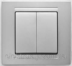 Выключатель двойной Gunsan Moderna Metallic серебро