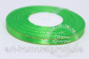 Атласная лента с люрексом, 0,6 см, зеленая, в рулоне 33 м