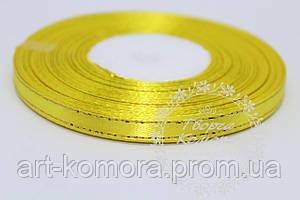 Атласная лента с люрексом, 0,6 см, желтая
