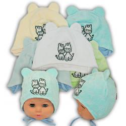 ОПТ Велюровая шапочка на завязках для мальчика с вышивкой, Y103 (5шт/упаковка)