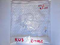 Белый плед жатка с нашивкой Голуби., фото 1
