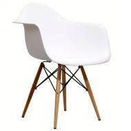 Крісло Тауер Вуд біле пластик, дерев'яні ніжки