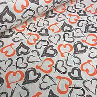 Ткань для колясок молочного цвета с оранжево-коричными сердечки № к-2