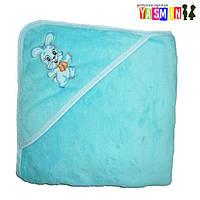 Пеленки для купания с уголком и вышивкой, 100х90 см. (велсофт) Голубой (=138.00 грн.)