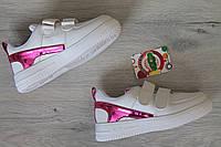 Белые кроссовки слипоны для девочки, спортивная детская обувь тм JG р.28,30,31