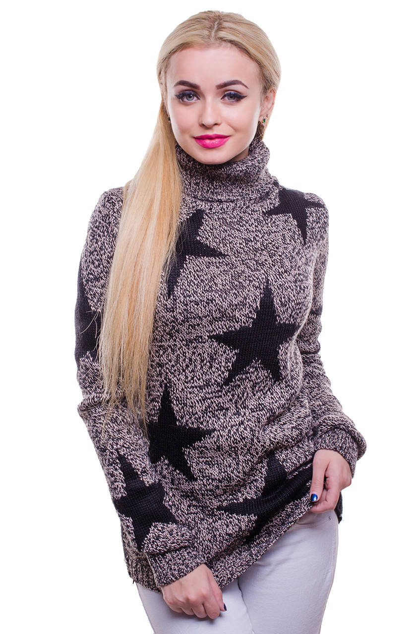 Женский вязаный теплый свитер со звездочками бежевого  цвета