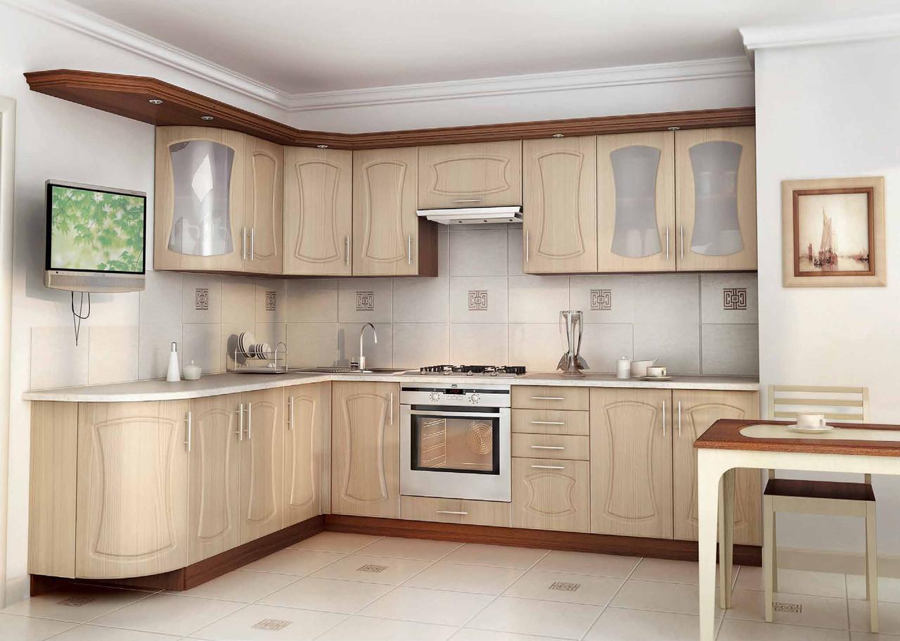 Кухня на заказ бежевого цвета изготовление, вариант-017 угловой с карнизом