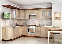 Кухня на заказ бежевого цвета изготовление, вариант-017 угловой с карнизом, фото 1