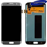 Дисплейный модуль (дисплей + сенсор) для Samsung Galaxy S7 EDGE G935F, серебристый, оригинал