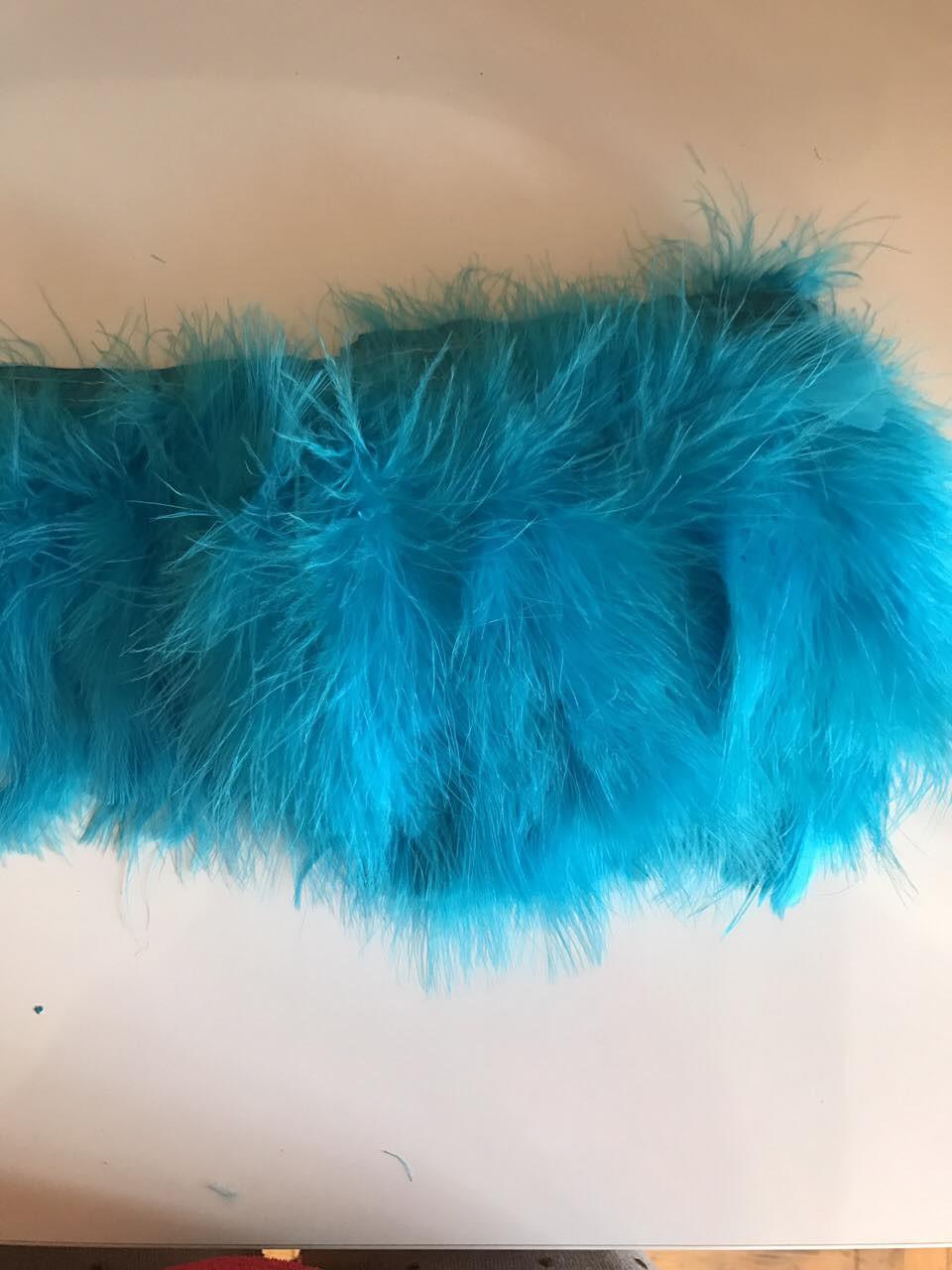 Перьевая тесьма из перьев лебедя.Цвет голубой.Цена за 0,5м