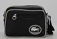 Черная классическая мужская сумка через плечо Lacoste. Хорошее качество. Доступная цена. Код: КГ530