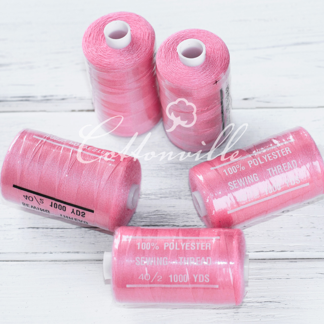 Нитки швейные 40s/2 прочные (1000 Y) цвет ярко-розовый