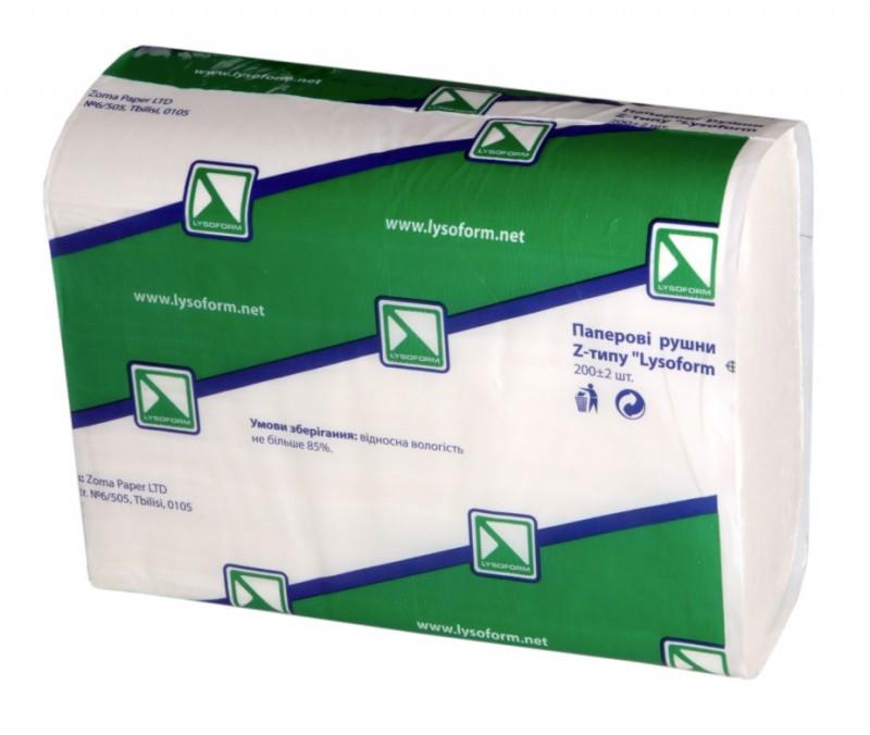 """Рушник паперовий Z-типу, """"Lysoform"""", 2 шар., 200 листів, білий"""