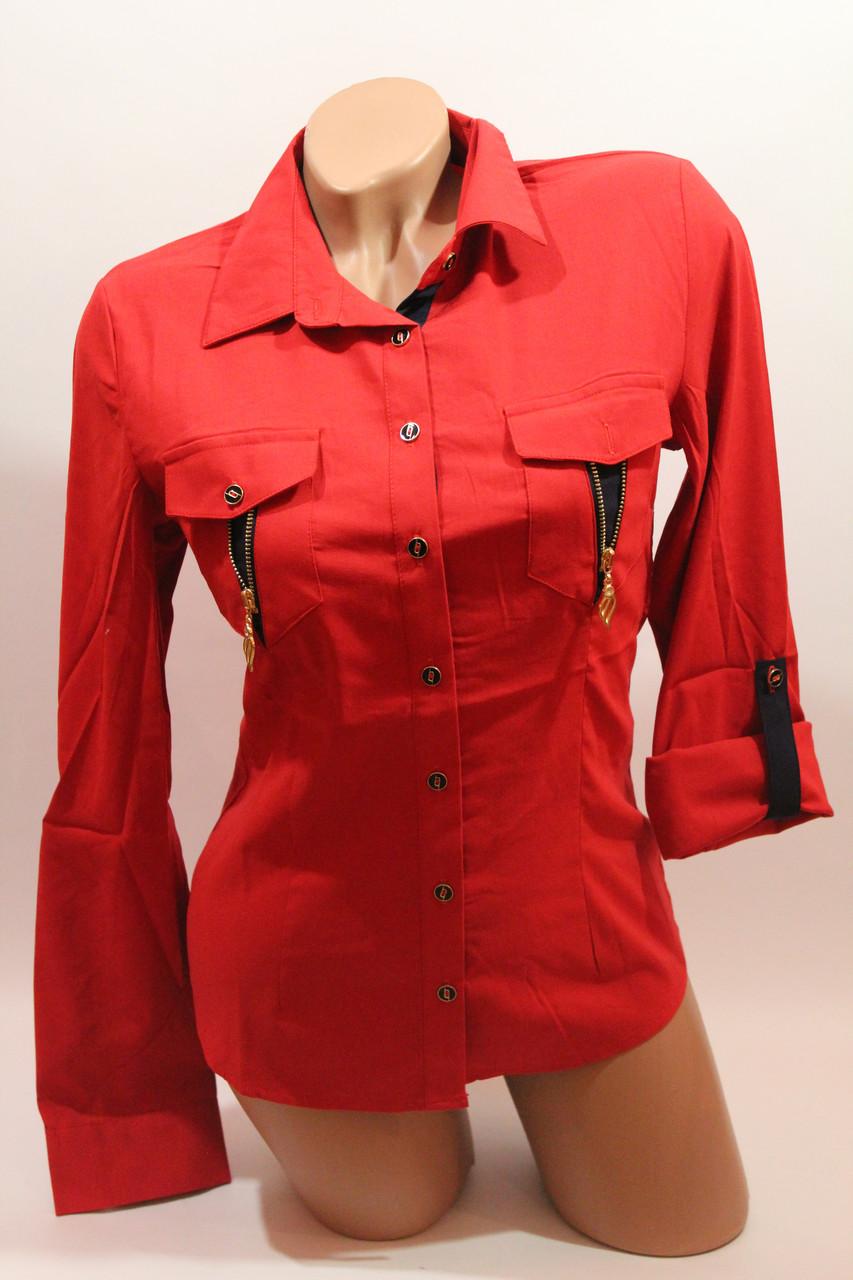 Женские однотонные рубашки EL5820 красный