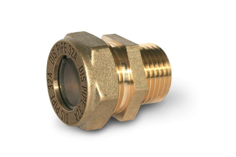 Муфта труба-наружная резьба никелированная усиленная DISPIPE 50х2