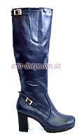 Женские высокие стильные сапоги, натуральная кожа синего цвета