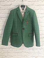 Куртка-пиджак стеганная зеленая  6-10 лет